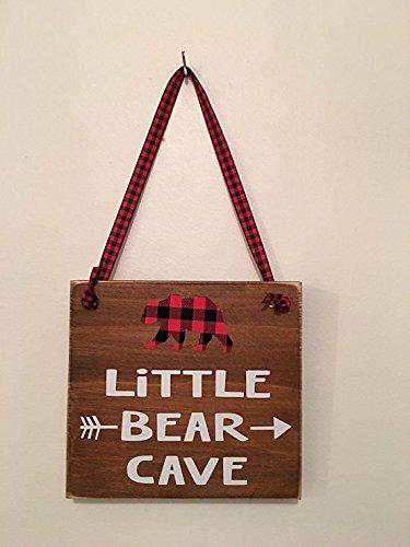 Brown   Little Bear Cave   Buffalo Plaid   Wooden   Door Sign   Hanger  Boys Room   Nursery