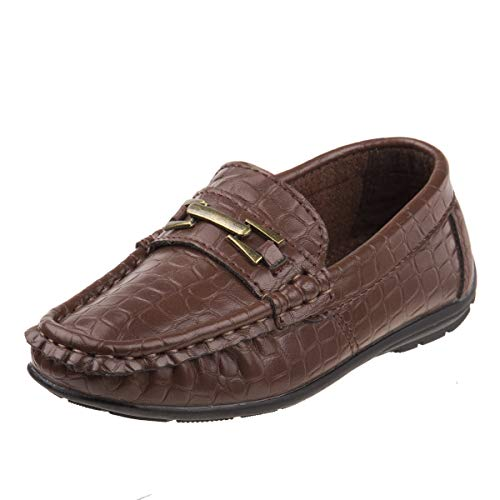 - Josmo Boys Casual Driving Slip-on Shoe (Toddler, Little Kid, Big Kid) (9 M US Toddler, Brown Crocodile)'