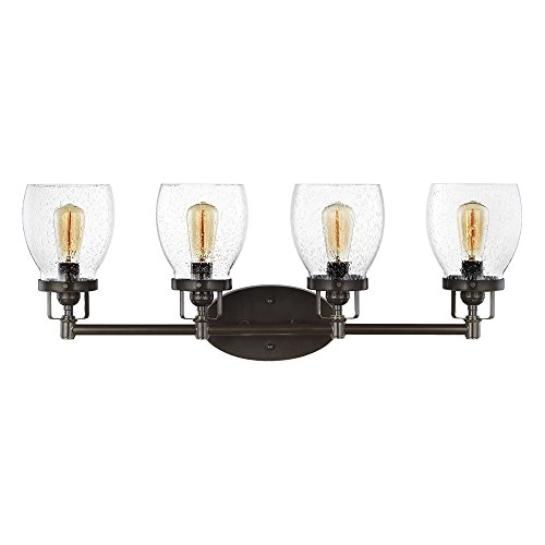 Spring Wall Lighting - Sea Gull Lighting 4414504-782 Belton Four-Light Wall/ Bath with Clear Seeded Glass Shades, Heirloom Bronze Finish