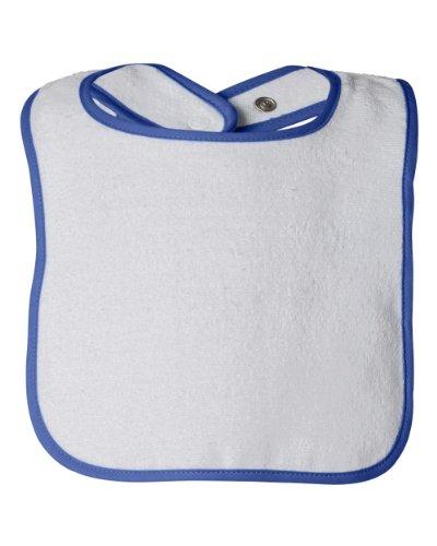 (Rabbit Skins Terry Snap Bib (1003) White/Royal Blue, OS)