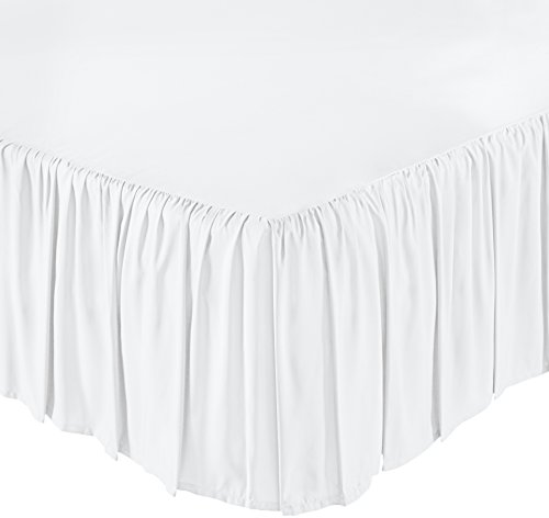 AmazonBasics Ruffled Bed Skirt, 16 Inch Skirt Length, Twin, Bright White