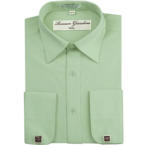 Dress Shirt Aqua Green Long Convertible Sleeve Collar Machine Washable Free Cufflink 15.5 32/33 ()