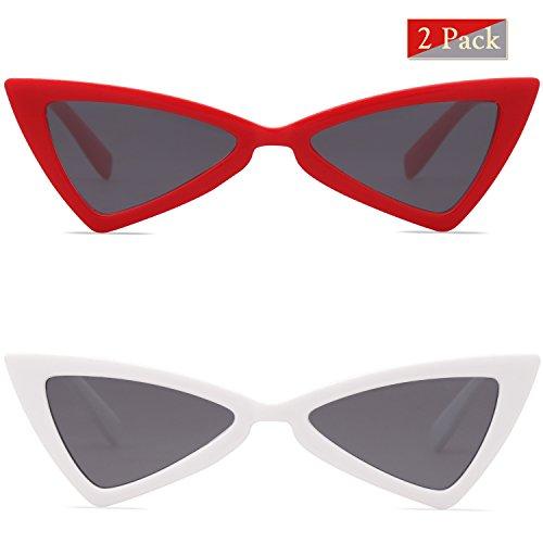 Couleur Triangle Bowknot Rouge Gris Blanc de Teinté Lunettes Petit Soleil Femme SJ2051 High Rétro Point Gris pour C03 amp; SOJOS xq8FzA