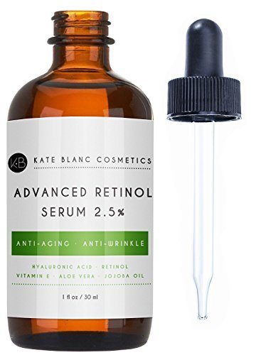 Retinol Serum 2.5% with Hyaluronic Acid & Vitamin E for Face, Acne Scars, Dark Spots by Kate Blanc. Professional Anti-Aging Topical Facial Serum, Anti-Wrinkle, Reduce Appearance of Fine Lines (1oz)