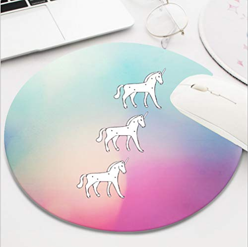 Nxmouse Customization Round Gaming Computer Keyboard Mouse Pad Mouse Mat with Non-Slip Rubber Base(8 Inch) Unicorns Leslie Goldman ()