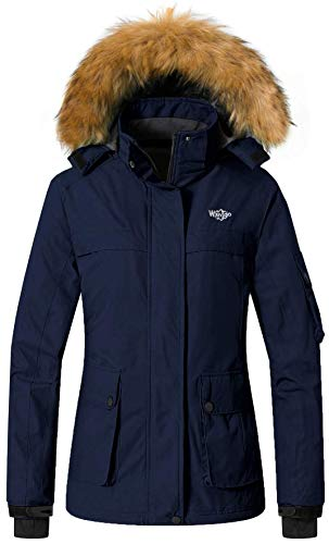 Wantdo Women's Waterproof Warm Snow Jacket Hooded Cotton Padded Winter Outwear Raincoat Windbreaker for Skiing(Dark Blue
