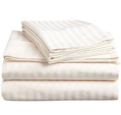 Offers on Cotton Stripes Sheets Queen Size by Linenwalas - Hotel Collection Sateen Weave Sheet Set - Soft Like Egyptian Cotton - Super Soft, Cool & Breathable (Queen , Ivory)