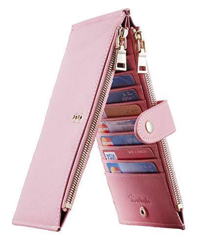 - Travelambo Womens Walllet RFID Blocking Bifold Multi Card Case Wallet with Zipper Pocket (CH Pink Sakura 2191)