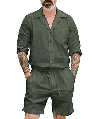 GTealife Mens Long Sleeve Rompers Drawstring Shorts Jumpsuit