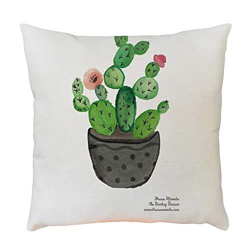 LIVSSTIL BUTIK Funda de Cojín Decorativo Cactus