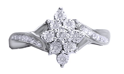 White Natural Diamond Engagement and Wedding Accent Cluster Ring In 14k Gold Over Sterling Silver (0.05 Cttw)