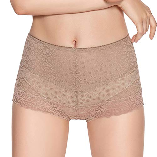 Eve's temptation Lily Women's High Waist Lace Panties Underwear Seamless Slimming Full Coverage Brief -Coffee Medium