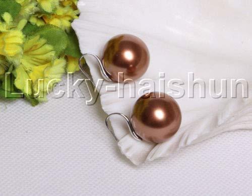 FidgetGear Dangle 20mm Round White Gray Coffee South sea Shell Pearls Earrings j12130-3 Coffee -