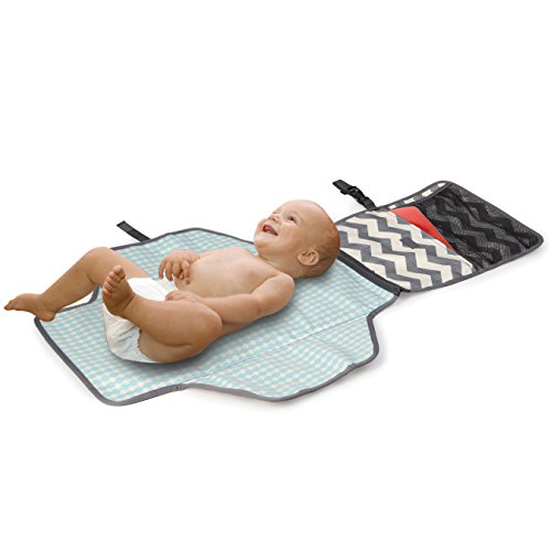 Skip Hop Portable Baby Changing Pad: Pronto Wipe Clean Changing Mat with Built-In Pillow and Wipes Dispenser, Chevron