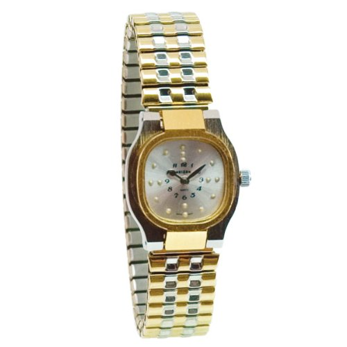 Reizen Ladies Bi-Color Square Braille Watch-Exp Band