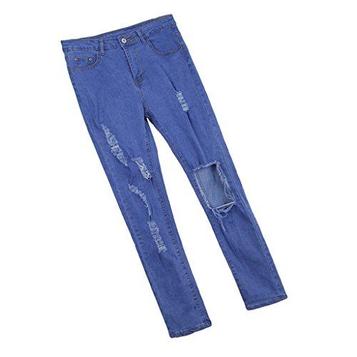 Fenteer Femmes Dchires Genou en Dsordre Slim Fit Stretch Pantalons En Denim Skinny Jeans Legging S-XL Bleu