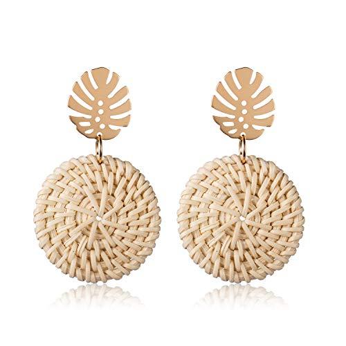 - Palm Leaf Woven Rattan Earrings Handmade Straw Wicker Dangle Drop Earrings for Women Wicker Straw Braid Knit Round Disc Rattan Earrings