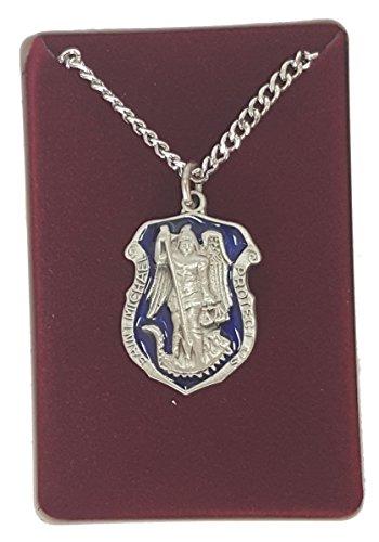 Blue Enameled Pewter St. Michael Medal Pendant Necklace 24