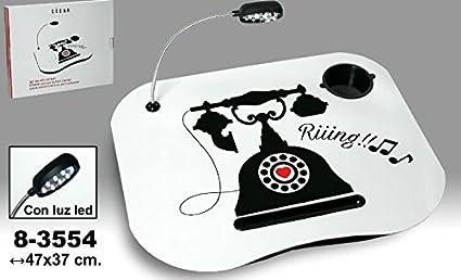 Bandeja para ordenador portatil decorado con dibujo de un teléfono con ampara extraible a pilas.