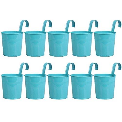 Peleustech 10PCS Metal Art Bucket Planters Flower Holders for Garden Railings, Patio Fence, Balcony - Blue ()