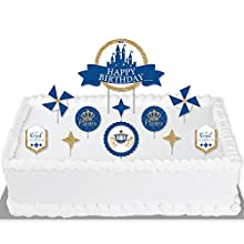 Big Dot of Happiness Royal Prince Charming - Birthday Party Cake Decorating Kit - Happy Birthday Cake Topper Set - 11 Pieces