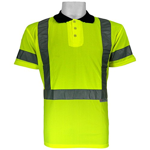 Global Glove GLO-009 FrogWear Class 3 Polo/Golf Style High Visibility Safety T-Shirt with 3M Scotchlite Reflective, Extra Large, Lime (Case of 100) by Global Glove
