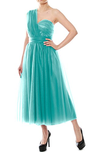 MACloth Tea Length Convertible Bridesmaid Dress Tulle Wedding Party Formal Gown Turquoise bopNwFpsjo
