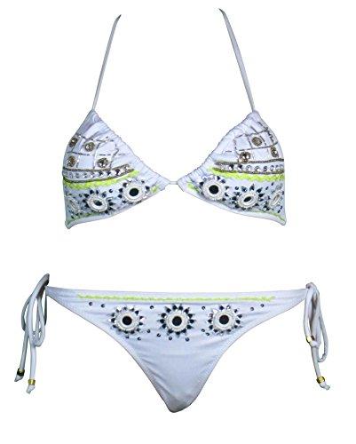 Mujer, Sunshine Espejo Con Detalle De Tachones Corbata Mix and Max Bikini, Blanco Blanco