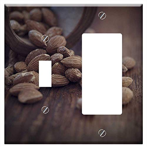 (1-Toggle 1-Rocker/GFCI Combination Wall Plate Cover - Almonds Salted Salted Almonds Brown Natural P)