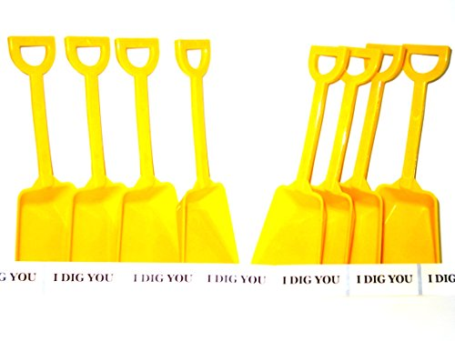 Construction Party Favors 20 Small Toy Shovels, Color Yellow and 20 I Dig You Stickers Mfg USA, by Jean's Plastics