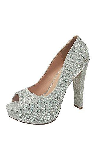 Crystal-Embellished Platform Peep-Toe Heels Style CARINA-80 Silver ibkO9ue