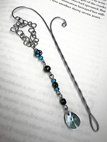 Blue Charm Bookmark, Swarovski Crystal Beaded Stainless Steel Page Marker Gift for Bookworms, Metal Book Pin