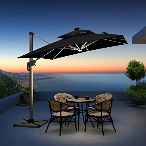 (PURPLE LEAF 10 Feet Double Top Deluxe Solar Powered LED Square Patio Umbrella Offset Hanging Umbrella Outdoor Market Umbrella Garden Umbrella,)