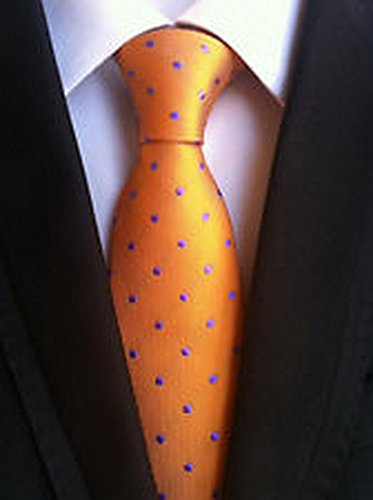 Jacob AleX #47119 Novelty Polka Dot Orange Purple JACQUARD WOVEN Silk Men's Tie Necktie (Famous Couples Halloween)