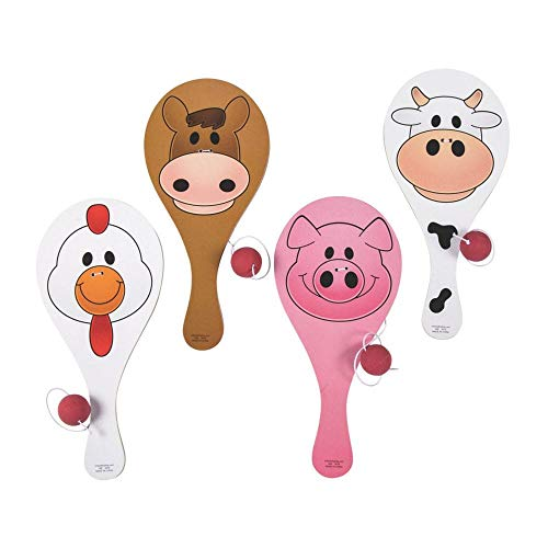 (Fun Express Wooden Farm Animal Paddle Balls (12 Pack))