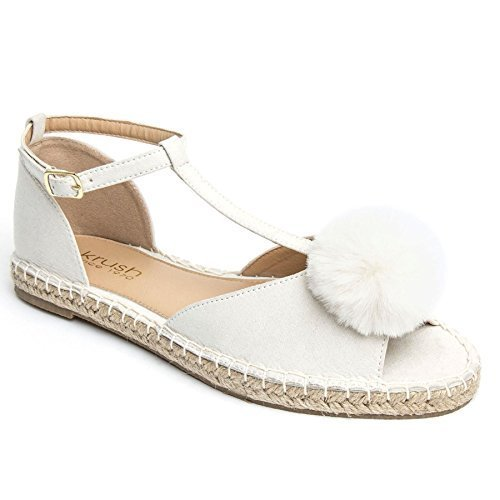 SAPPHIRE BOUTIQUE Women's Suede Fluffy Pom Pom Open Toe Lightweight Flat Sandals Espadrille Shoes Cream NCpqfE