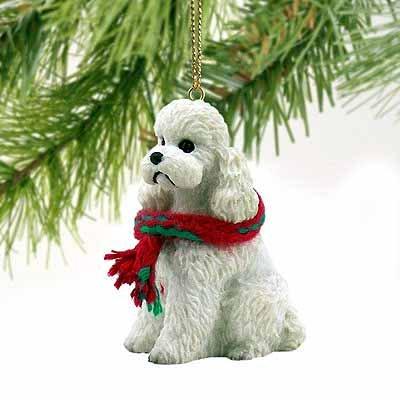 - 1 X Poodle Sportcut Miniature Dog Ornament - White by Conversation Concepts