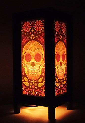 Thai Vintage Handmade Thailand Oriental Fantasy Skull Bedside Table Light or Floor Wood Paper art hand-made Lamp shades home bedroom garden decor modern design from - Shades Von Zipper