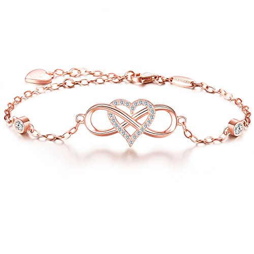 "BlingGem Together forever"" Bracelet Love 925 Sterling Silver Infinity Heart Cubic Zirconia Bracelet Jewelry for Women Ideal Gift (Rose gold)"