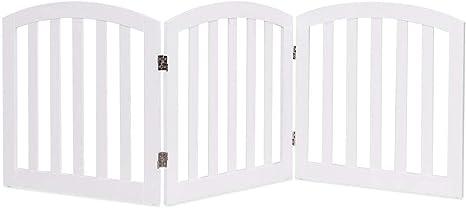 COSTWAY Barrera de Seguridad para Perros Valla Protección de Madera Plegable para Habitación Puerta Escalera Blanca: Amazon.es: Bebé