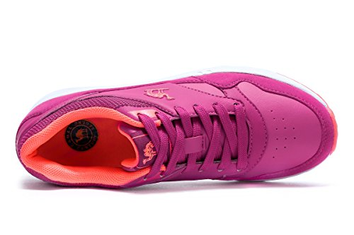 Camel Women Black Running Athletic Shoes, Fashion Casual Leather Sneakers For Sport Gym Walking Size Rose