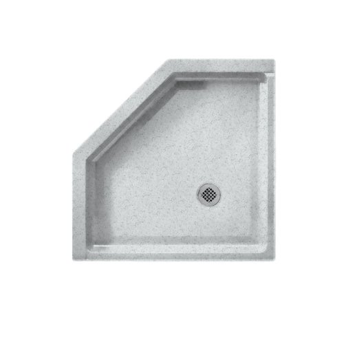 (Swanstone SS-38NEO-053 Solid Surface Neo-angle Shower Base, 38-in L X 38-in H X 5.5-in H, Tahiti Gray)
