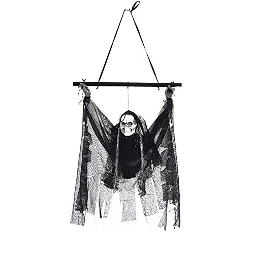 (Halloween Decoration Animated Hanging Skeleton Ghost Electric Induction Luminous Skeleton Pendant 21.65 Inch Bar KTV Decorations Skeleton)