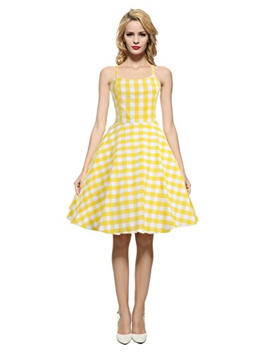Maggie Tang Women's 1950s 60s Vintage Rockabilly Casual Party Dress Yellow XL ()