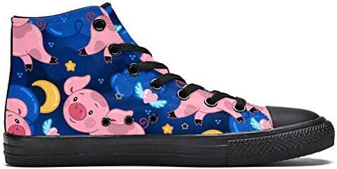 TIZORAX DEYYA Hoge Top Sneakers voor Mannen Leuke Varkens Night Sky met Maan Wolken en Sterren Patroon afdrukken Mode Lace up Canvas Schoenen Casual Walking Schoen