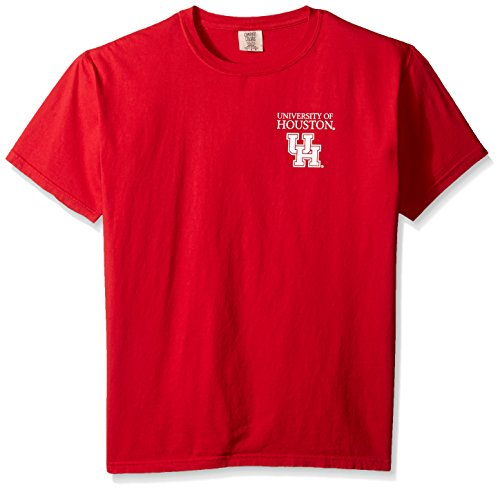 NCAA Houston Cougars Simple Circle Comfort Color Short Sleeve T-Shirt, Red,Large