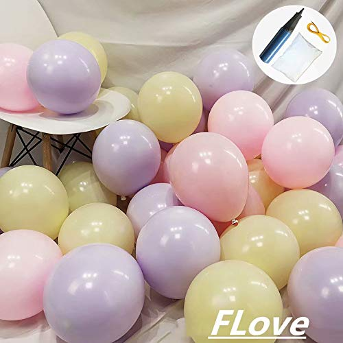 FL 100pcs Pastel Latex Balloons 10 Inches(with Free inflator) Macaron Candy Colored Latex Party Decorations for Wedding Graduation Kids Birthday Party Baby Shower Party Supplies Arch Balloon Tower ()