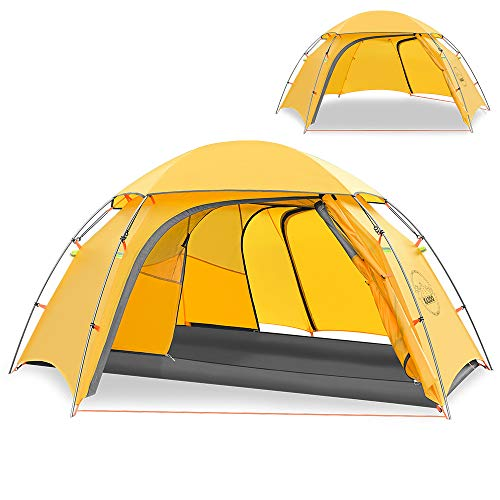 KAZOO Outdoor Camping Tent Durable Lightweight Hiking Backpack Tents Waterproof Instant Setup Tent Double Layer 2person (Yellow)