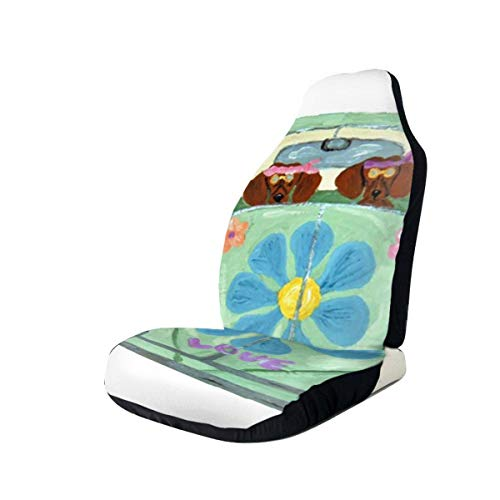 Car Seat Covers Lovers Dachshund Hippies in Flower Love Mobile Dog Fashion Best Automobile Seats Protector Fit Most Car,Truck,SUV,Van 1PCS