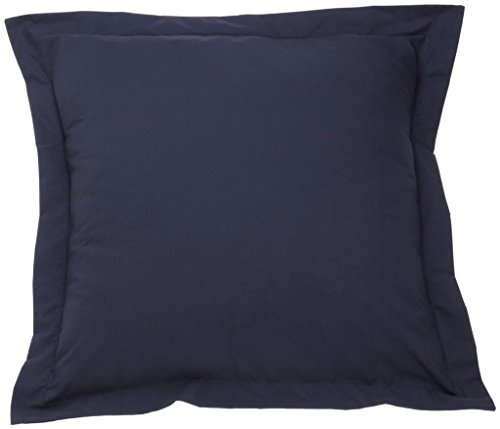 Pillow Shams Set of 2 - Luxury 500 Thread Count 100% Egyptian Cotton Cushion Cover Euro Size Decorative Tailored Poplin European Pillow Sham (Navy Blue Solid, European/Square (26 x 26 Inch))